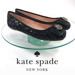 Kate Spade 7.5 glitter ballerina Black Flats